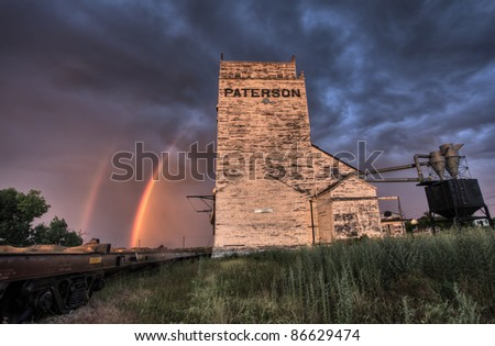 Grain Elevator Saskatchewan sunset Parkbeg weathered - stock photo