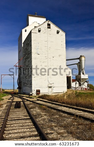 Grain Elevator standing on the Canadian Prairie town of Domremy, Saskatchewan - stock photo