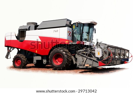 grain harvester combine on a white background - stock photo