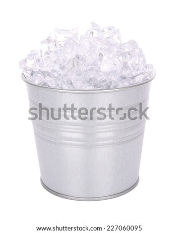 Grain metal ice bucket on white background.