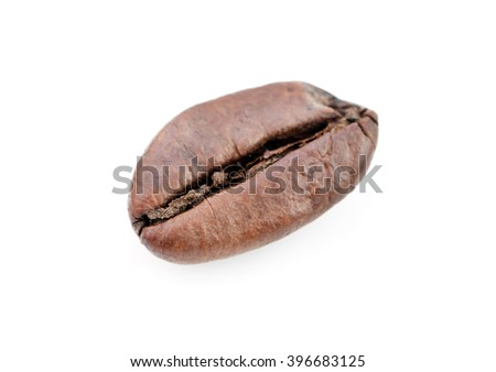 grain of coffee is isolated on white background - stock photo