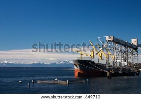 Grain ship - stock photo