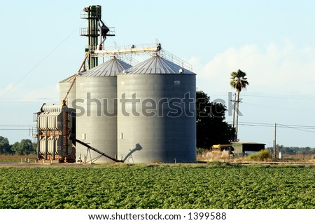 Grain silo in northern california. - stock photo