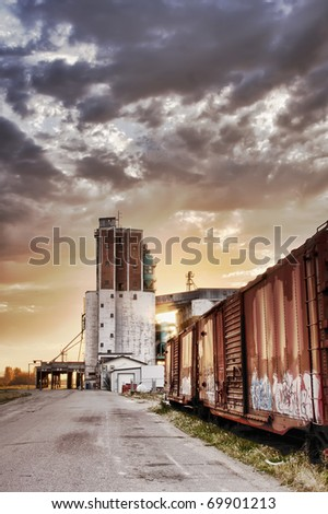 Grain terminal at sunrise in Saskatoon, Canada - stock photo