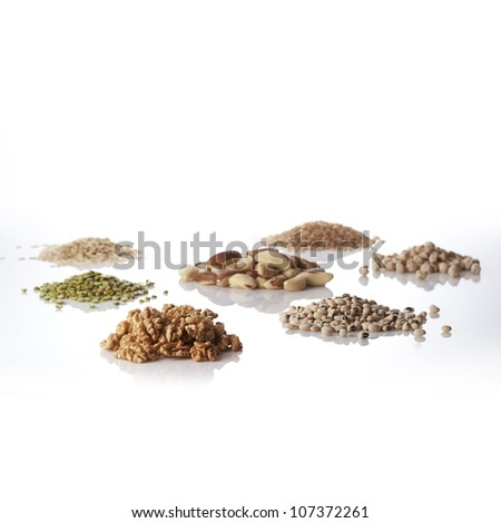 Grains and nuts - stock photo