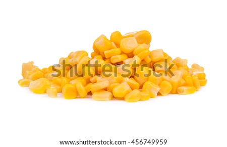 grains of canned corn isolated on white background.
