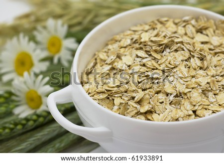 Grains of oats and  flakes in a white bowl - stock photo