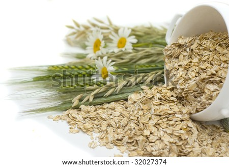 Grains of oats and  flakes in a white bowl isolated on a white background - stock photo