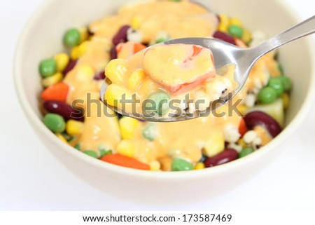 grains salad in a spoon - stock photo
