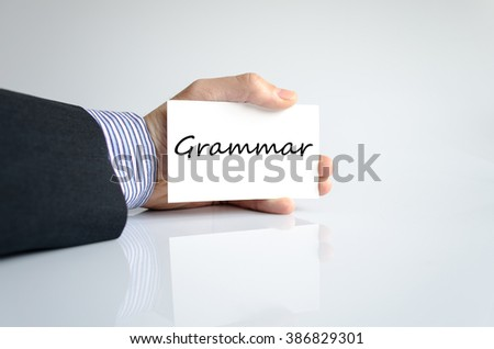 Grammar text concept isolated over white background - stock photo