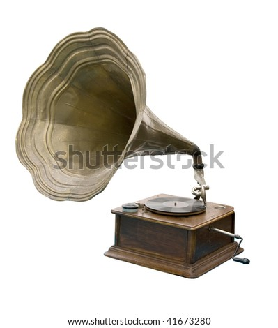 Grammophone on white Background - stock photo