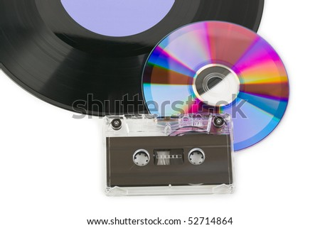Gramophone disk, cd and cassette isolated on white background - stock photo