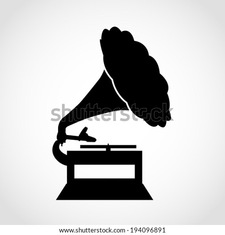 Gramophone Icon Isolated on White Background Raster - stock photo