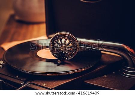 Gramophone player close up - stock photo