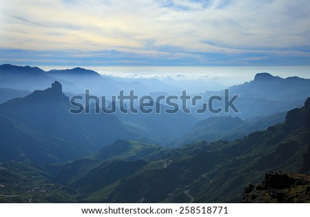 Gran Canaria, Caldera de Tejeda, mist is settling over Caldera - stock photo