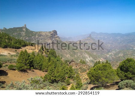 Gran Canaria, Caldera de Tejeda, Roque Bentayga and Roque Nublo both visible - stock photo
