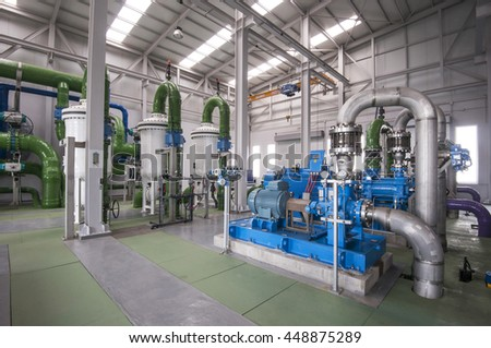 GRAN CANARIA, CANARY ISLANDS - MAY 15, 2013: Pumping machines and water treatment on the island of Gran Canaria