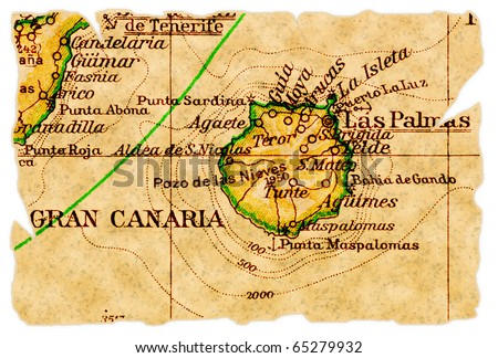 Gran Canaria, Canary Islands on an old torn map from 1949, isolated. Part of the old map series. - stock photo