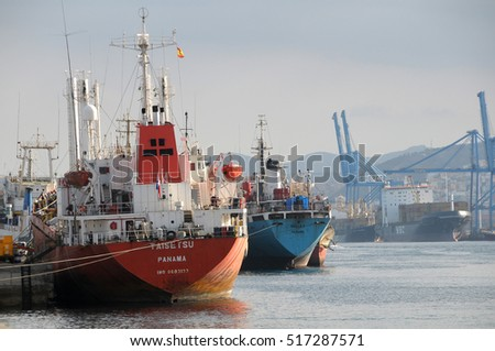 GRAN CANARIA, CANARY ISLANDS - SEPTEMBER 30, 2009: Fishing boats docked at one of the docks in the port of Las Palmas