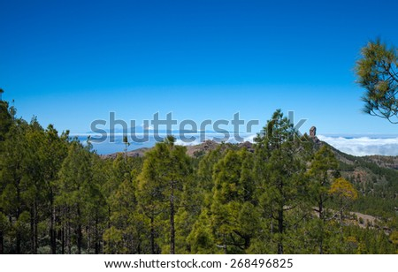 Gran Canaria, Los Cumbres - the highest areas of the island, view towards Roque Nublo and Teide on Tenerife - stock photo