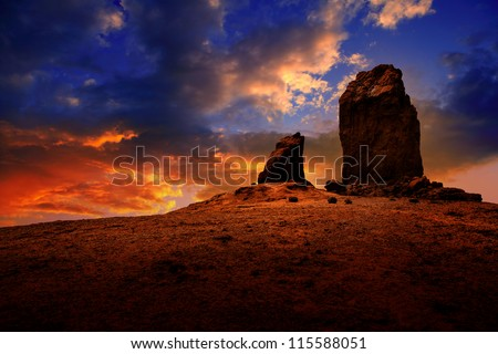 Gran canaria Roque Nublo Tejeda dramatic sunset sky in canary Islands