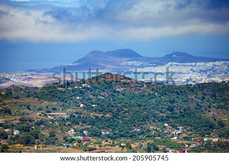 Gran Canaria, view to Las Palmas from the viewing point Mirador de Montana Cabreja - stock photo