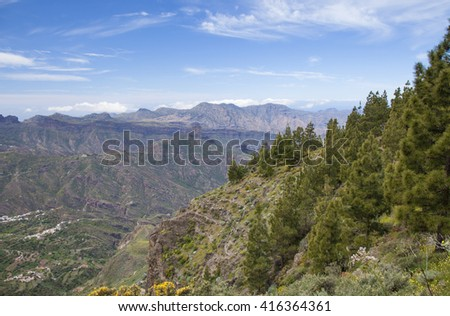 Gran Canaria, view towards Roque Bentayga from north lip of the caldera - stock photo
