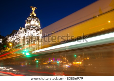 Gran via street in Madrid, Spain at night. - stock photo