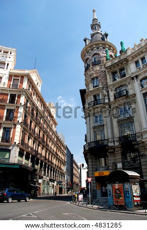 Gran Via street in the center of Madrid, Spain.