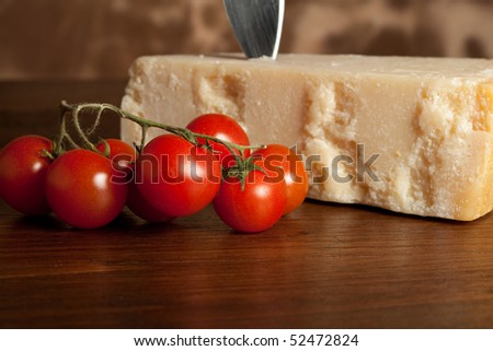 Grana cheese with tomatoes