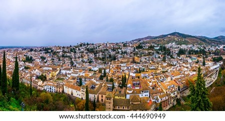 Granada, aerial panoramic view of old Albaicin district from Alhambra - stock photo
