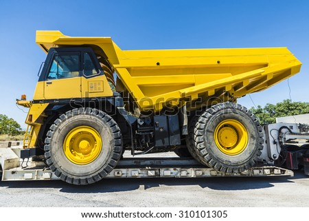 Granada, Spain - August 18, 2015: Transporting a large truckload - stock photo