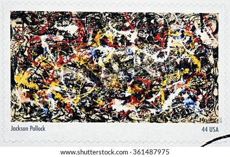 GRANADA, SPAIN - DECEMBER 1, 2015: A stamp printed in USA dedicated to Abstract Expressionists shows the work Convergence (1952) by Jackson Pollock, 2010