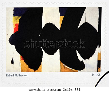 GRANADA, SPAIN - DECEMBER 1, 2015:  A stamp printed in USA dedicated to Abstract Expressionists shows the work Elegy to the Spanish Republic by Robert Motherwell, 2010 - stock photo