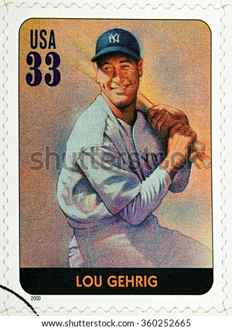GRANADA, SPAIN - DECEMBER 1, 2015: A stamp printed in USA dedicated to Legends of Baseball shows Lou Gehrig, 2000 - stock photo