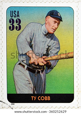 GRANADA, SPAIN - DECEMBER 1, 2015: A stamp printed in USA dedicated to Legends of Baseball shows Ty Cobb, 2000 - stock photo