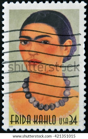 GRANADA, SPAIN  - MARCH 11, 2012: stamp printed in USA show great Mexican painter Frida Kahlo, circa 2001 - stock photo