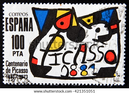 GRANADA, SPAIN - MAY 15, 2016:  A stamp printed in Spain commemorating the centenary of the birth of the painter Pablo Picasso in 1881, 1981