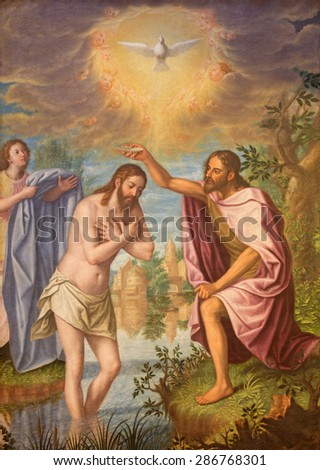 GRANADA, SPAIN - MAY 31, 2015: The Baptism of Christ painting in main nave of church Monasterio de la Cartuja  by Fray Juan Sanchez Cotan (1560 - 1627). - stock photo