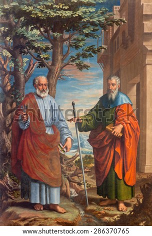 GRANADA, SPAIN - MAY 31, 2015: The painting of St. Paul and st. Peter in church Monasterio de la Cartuja by Fray Juan Sanchez Cotan (1560 - 1627) in Sala del S. Pablo y S. Pedro. - stock photo