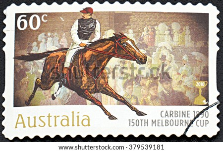 GRANADA, SPAIN - NOVEMBER 30, 2015: A Stamp printed in Australia shows the Carbine, 1890 Winner, 150th Melbourne Cup issue, 2010 - stock photo