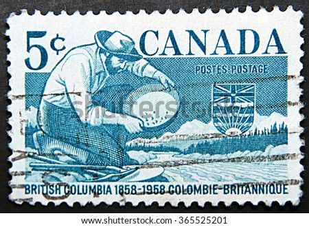 GRANADA, SPAIN - NOVEMBER 15, 2015: A stamp printed in Canada dedicated to British Columbia - stock photo