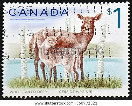 GRANADA, SPAIN - NOVEMBER 30, 2015: A stamp printed in Canada shows fawn and deer,  2011 - stock photo