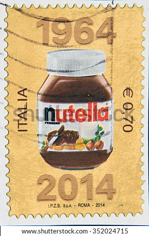 GRANADA, SPAIN - NOVIEMBRE 30, 2015: A stamp printed in Italy shows Jar of Nutella, 2014 - stock photo