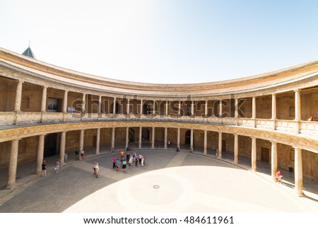 GRANADA, SPAIN - September 6, 2016: Palace of Charles V in Alhambra, Spain.