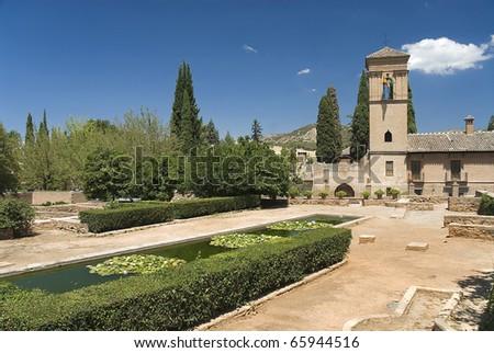 Granada,Spain,the Alhambra,the garden - stock photo
