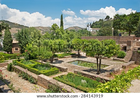 Granada - The Gardens of Alhambra palace  - stock photo