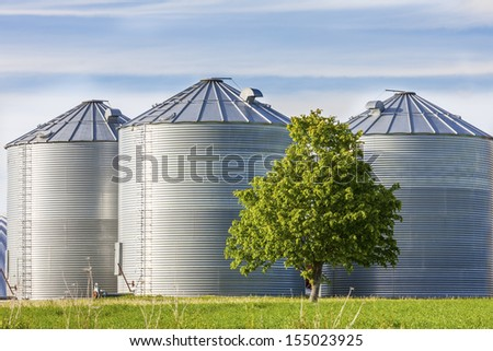 Granaries for storing wheat and other cereal grains.  - stock photo