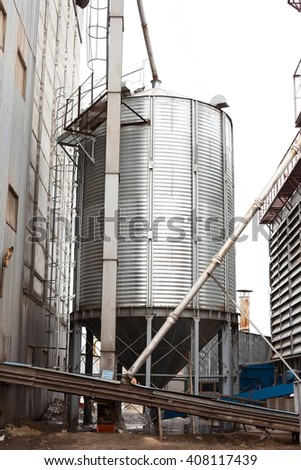 granary on a farm on cultivation of chicken and the subsequent production of meat products - stock photo