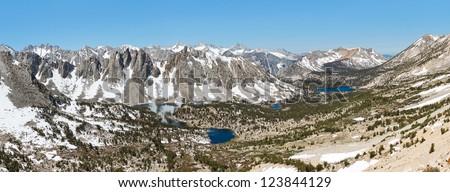 Grand Alpine View in the Sierra Nevada. Kearsarge Pass, California, USA. - stock photo